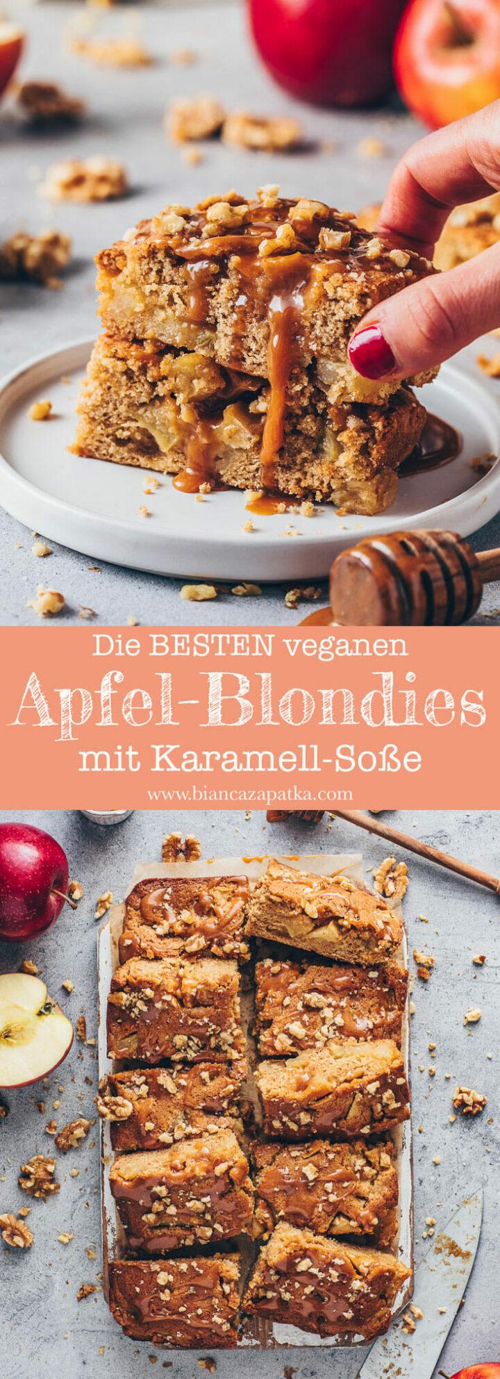 Apfel Blondies mit Karamellsauce und Walnüsse (Food Fotografie)