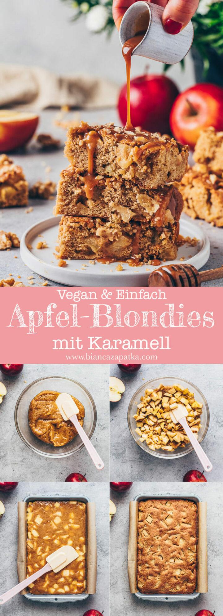 Apfel-Zimt Blondies Kuchen mit Karamell-Sauce und Walnüsse