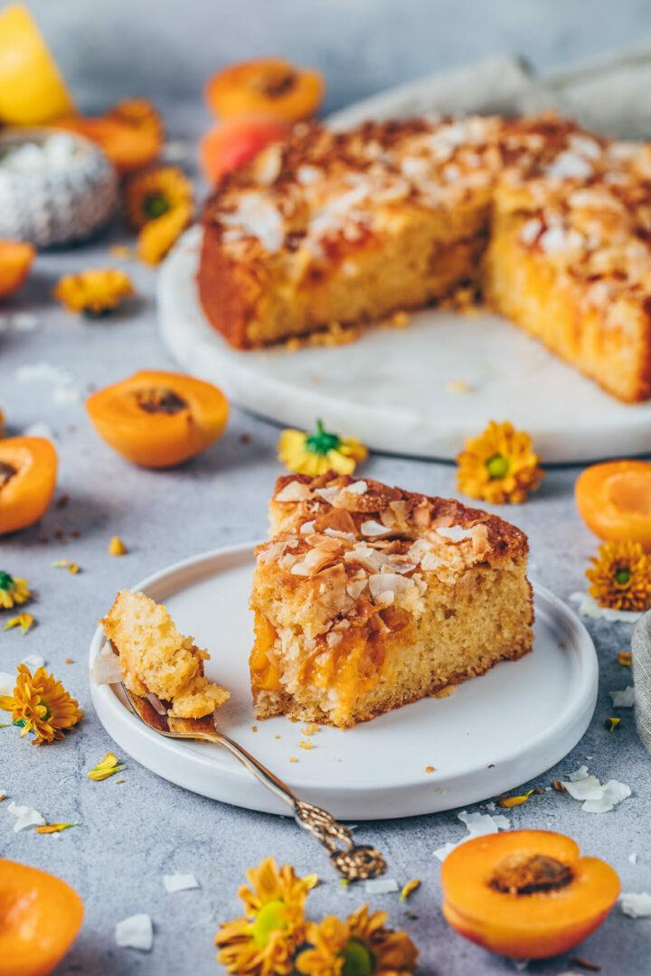 Aprikosen-Kuchen mit Kokos Topping
