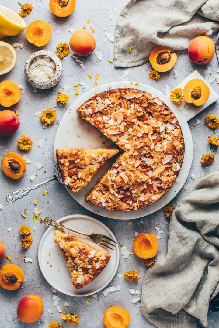 coconut cake with apricots, peaches