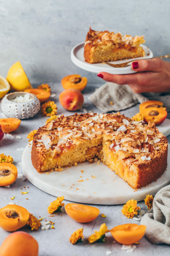 moist and fluffy soft apricot cake with coconut