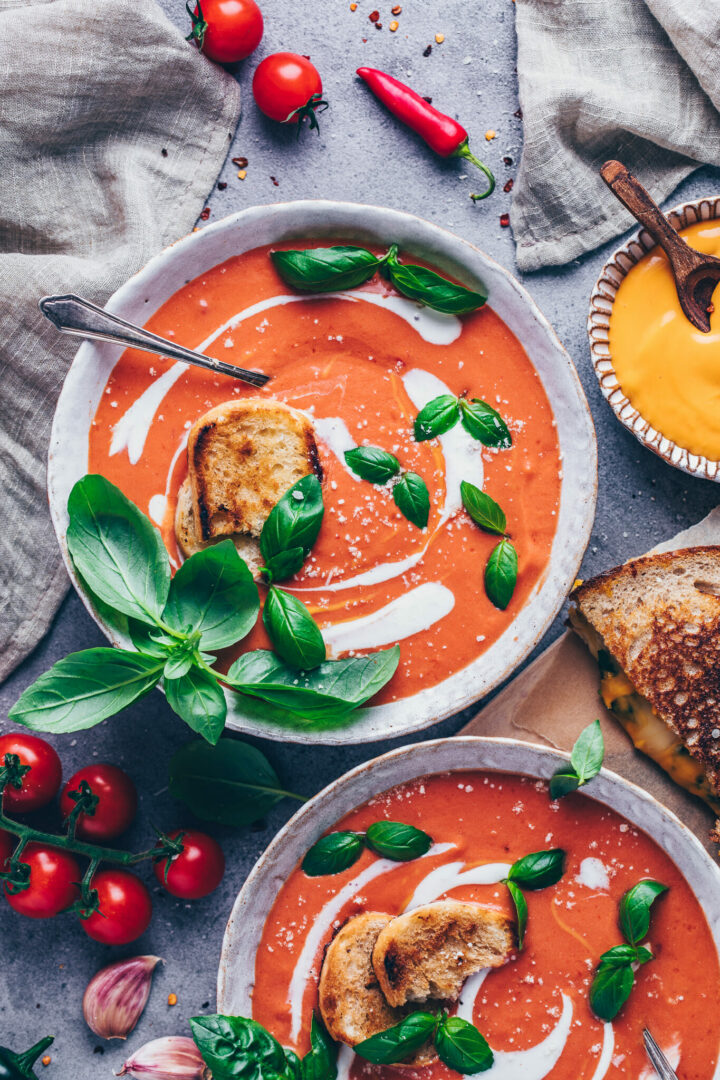 tomato soup with coconut milk, fresh tomatoes, basil and parmesan