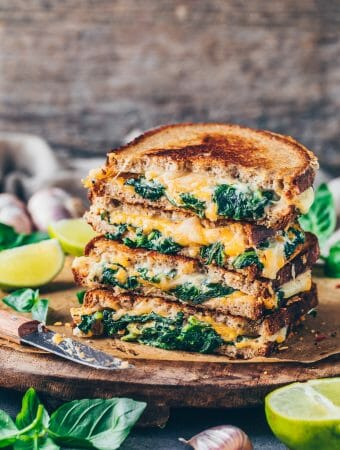 vegan grilled cheese sandwich with spinach cream