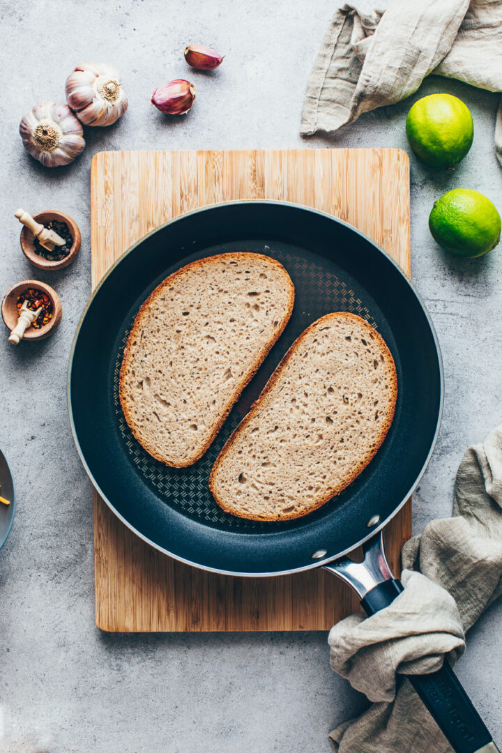 sandwich bread in a skillet