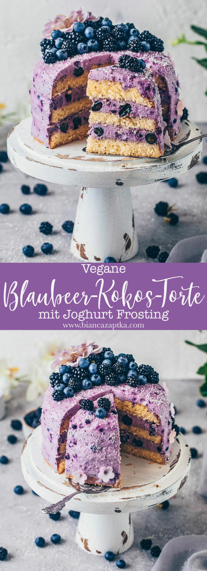 Heidelbeer-Kokos-Torte mit Joghurt Creme Frosting und Brombeeren