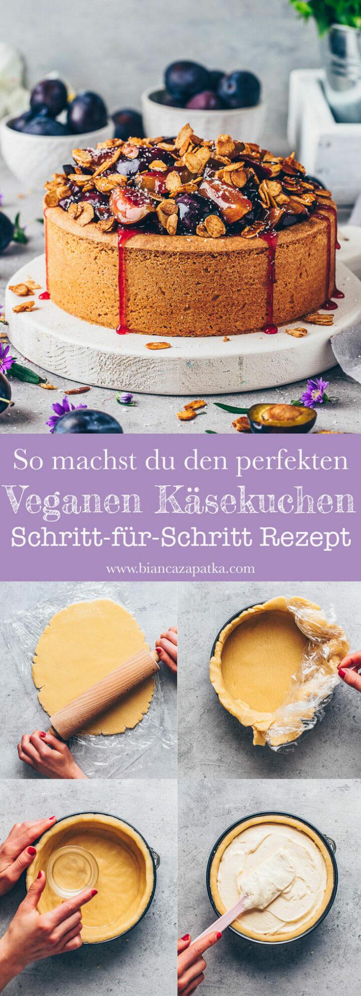 Veganer Käsekuchen Pflaumenkuchen mit Zwetschgen und Mandeln - Rezept mit Schritt-für-Schritt Anleitung