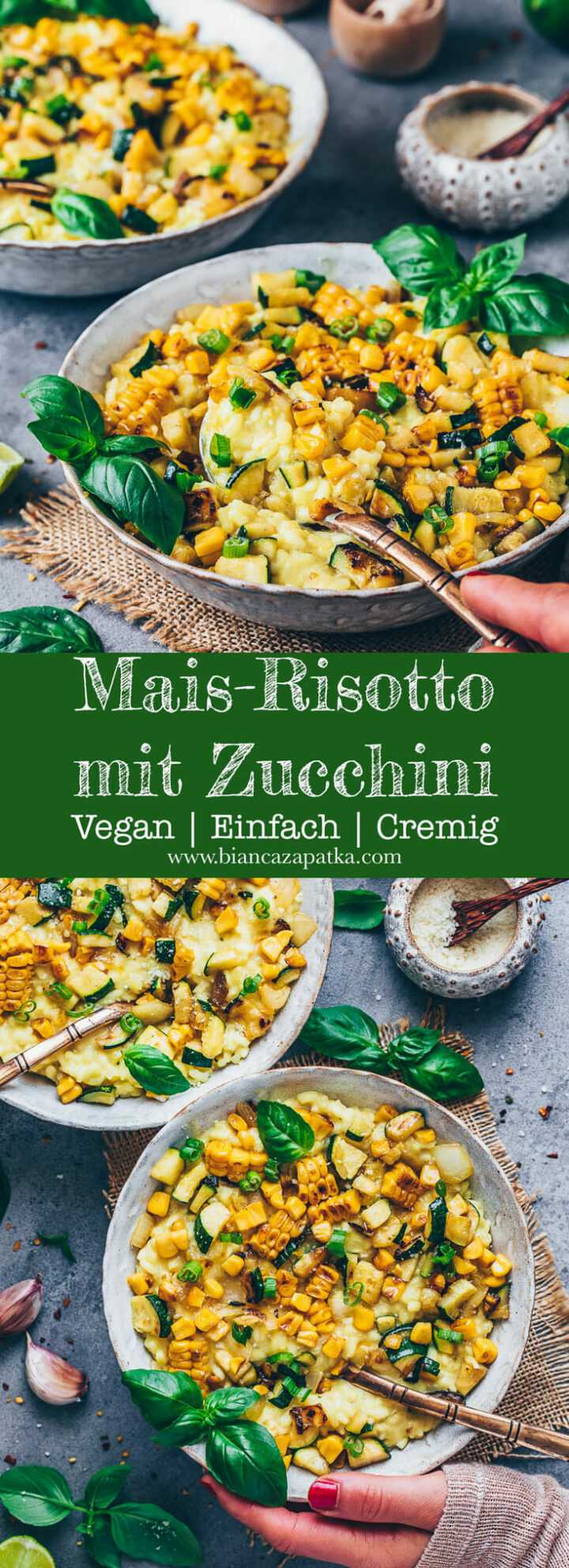 Cremiges Risotto mit Mais, Zucchini, Basilikum, Parmesan, Knoblauch