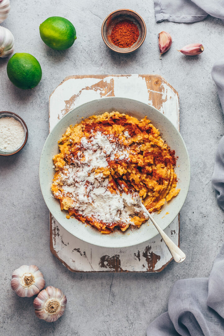 mashed sweet potatoes with lentils, flour and pepper for patties, fritters, savory pancakes