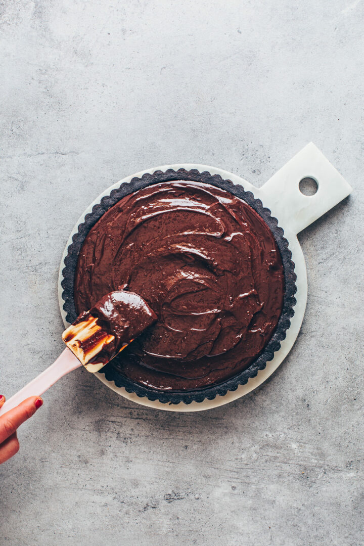 chocolate pie tart with ganache