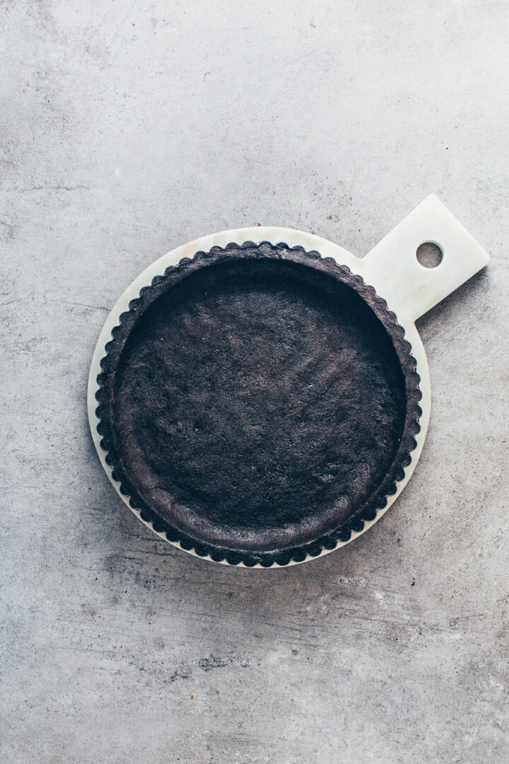 Oreo Cookie Pie Crust in a tart pan - how to make tart shell