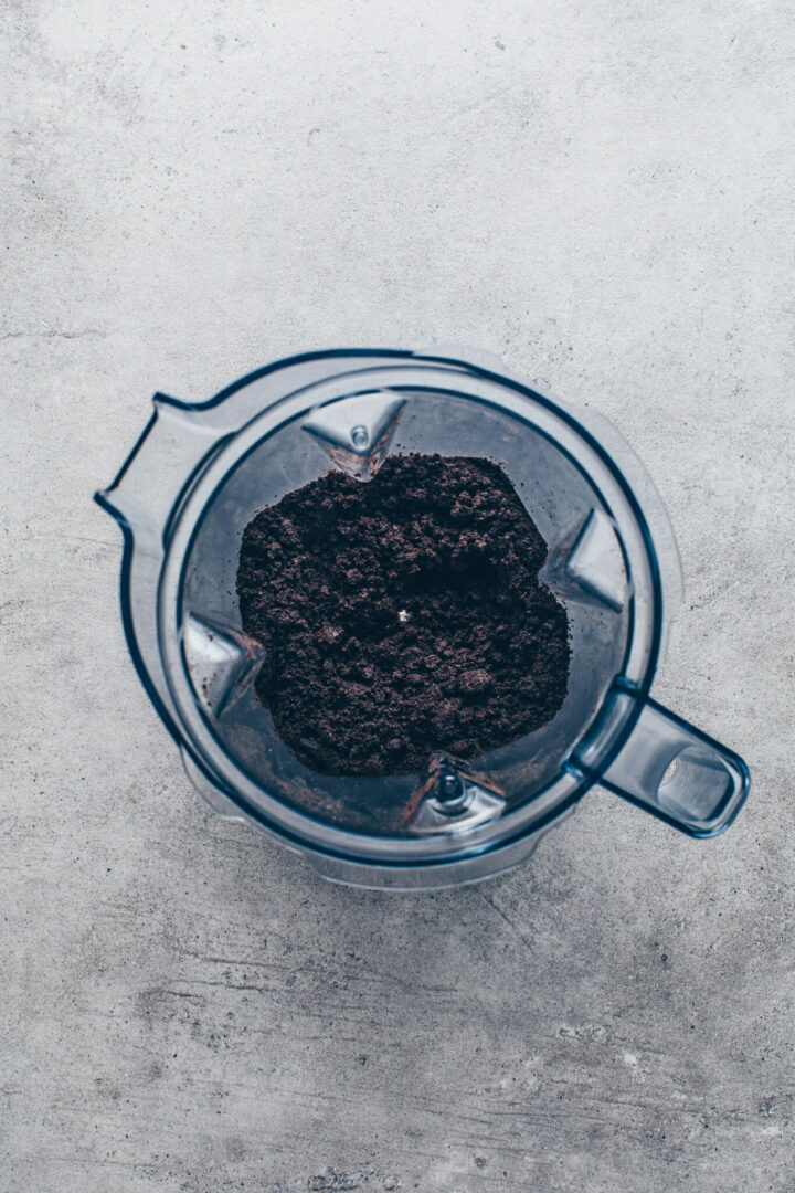 crushed Oreo cookie crumbs in a blender