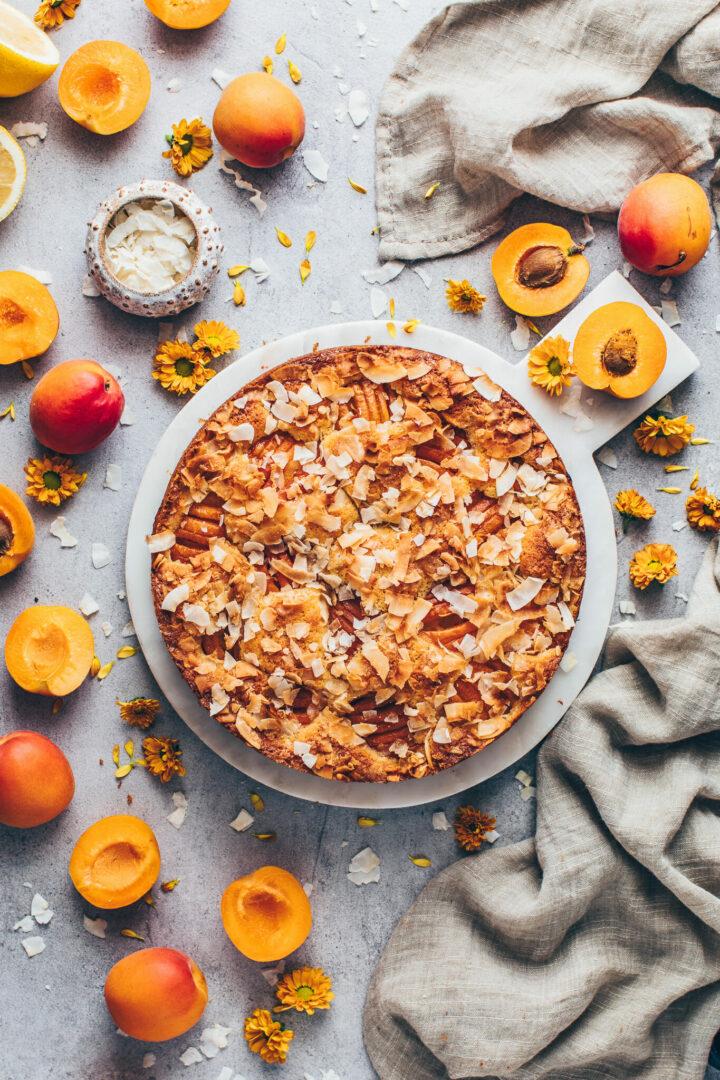 Aprikosenkuchen Kokoskuchen mit Kokosnuss-Streusel