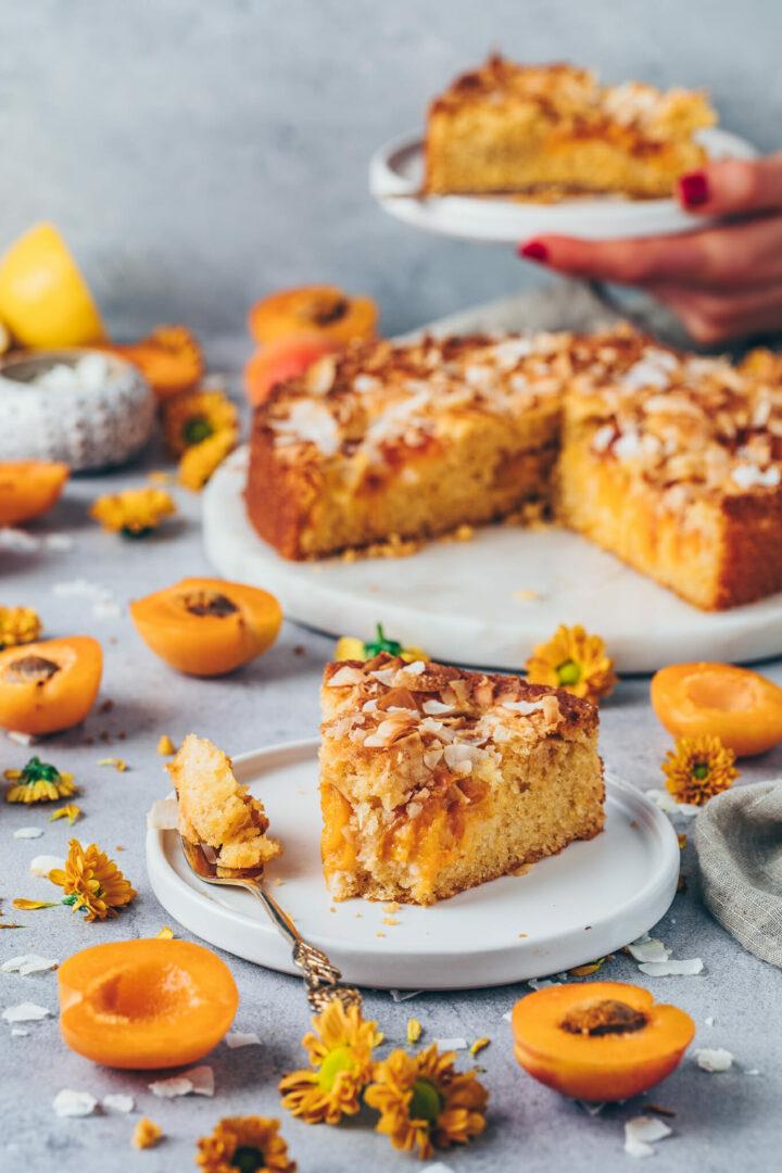 Aprikosenkuchen mit Kokosnuss