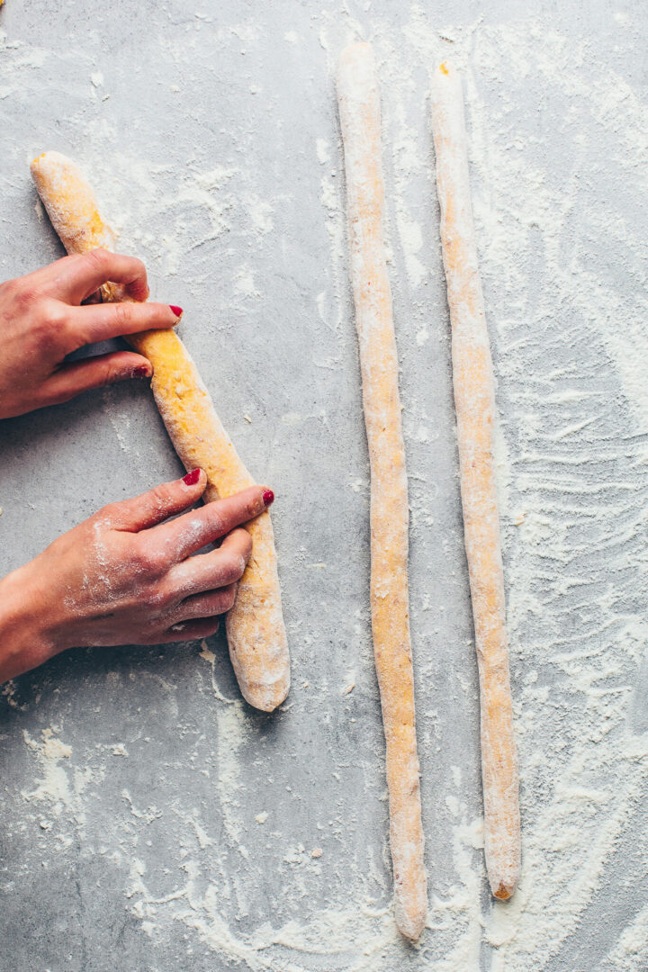 roll pumpkin gnocchi dough into long ropes