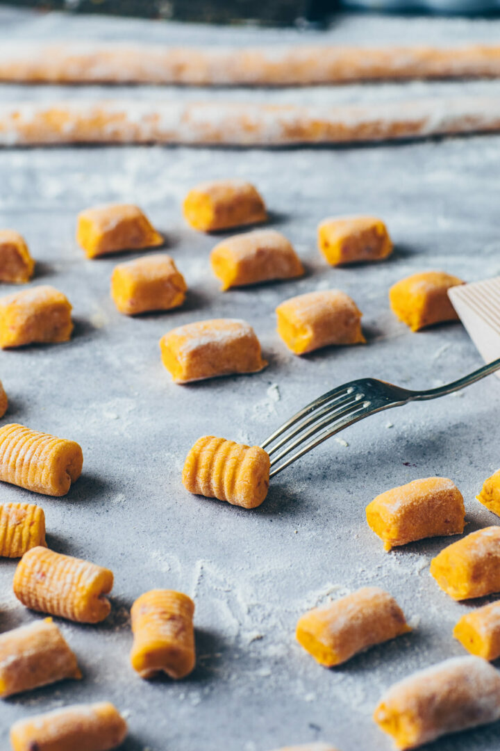 roll gnocchi over the tines of a fork