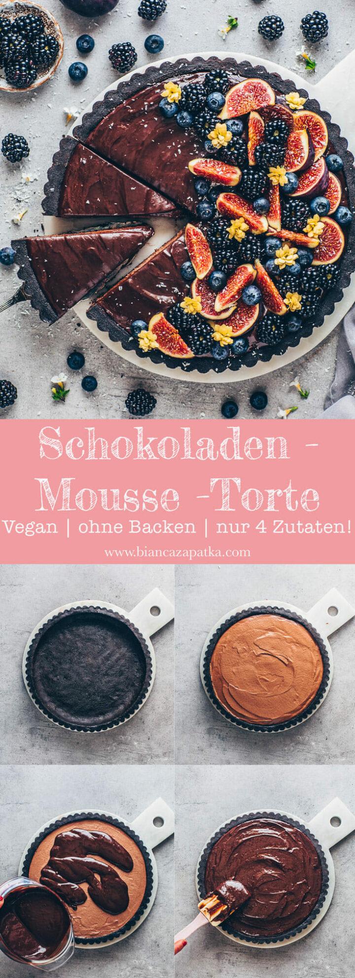 Schokoladen Mousse Torte mit Oreo Keks-Boden und Ganache - Schoko Kuchen Tarte mit Feigen, Blaubeeren und Brombeeren