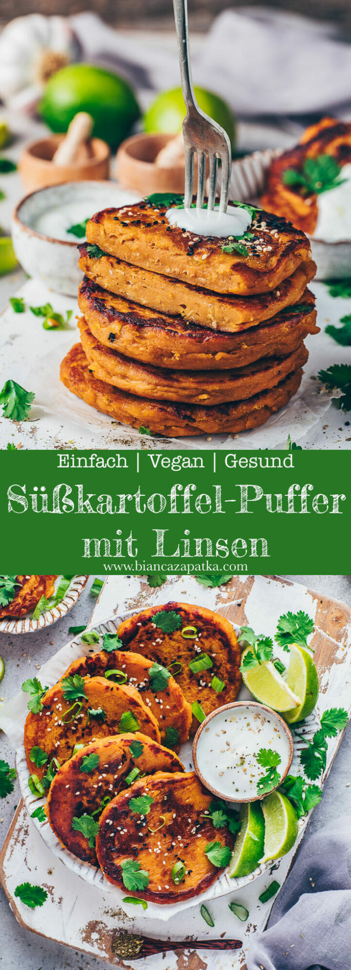Süßkartoffel Puffer Linsen Bratlinge Fritter herzhafte Pancakes Reibekuchen mit Dip