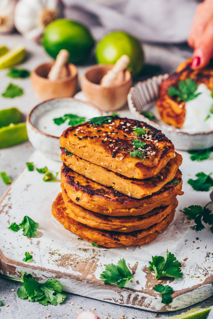 mashed sweet potato cakes savory pancakes with dip (vegan lentil fritters patties)