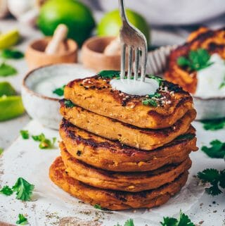 sweet potato cakes savory pancakes with dip (vegan lentil fritters patties)