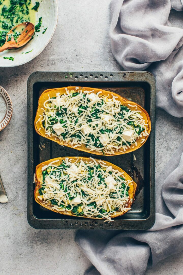 spaghetti squash boats with spinach cream and feta cheese