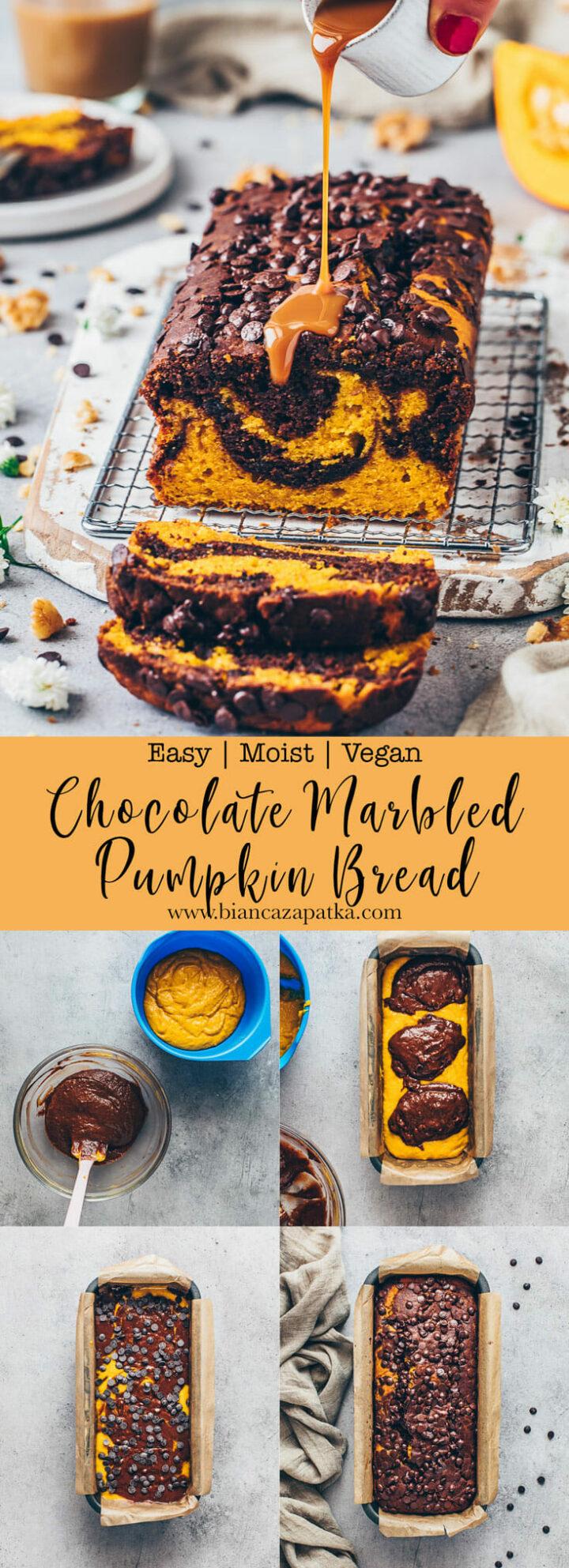 Chocolate Chip Pumpkin Bread (Vegan Marble Cake Loaf)