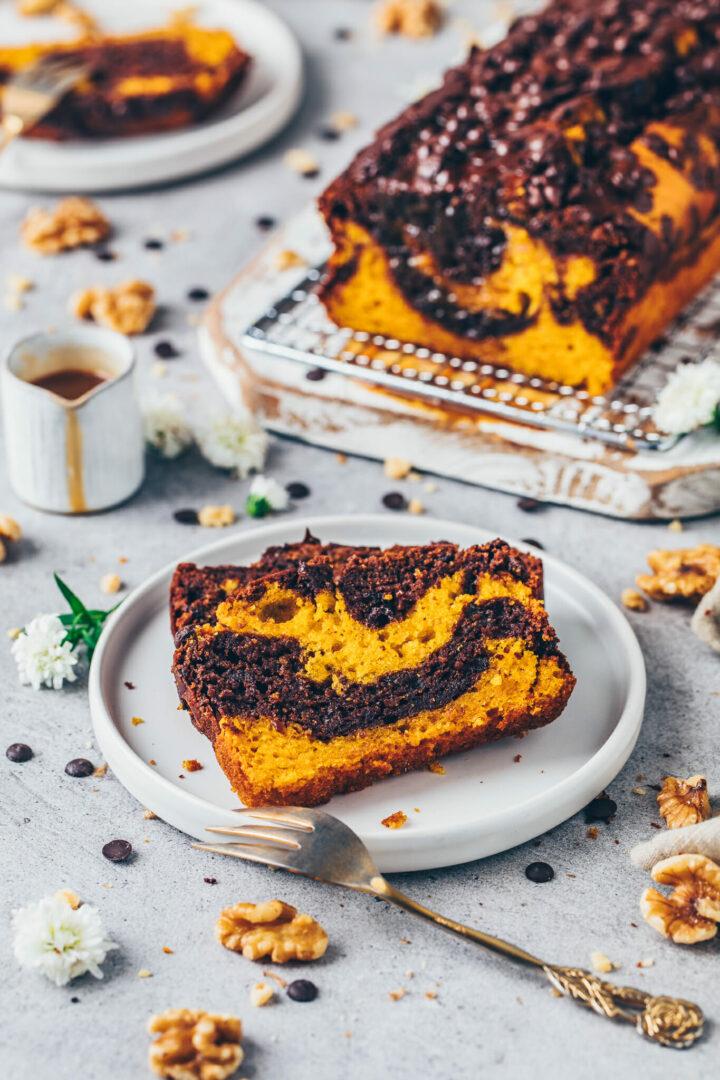 Marmor-Kuchen mit Kürbis und Schokolade