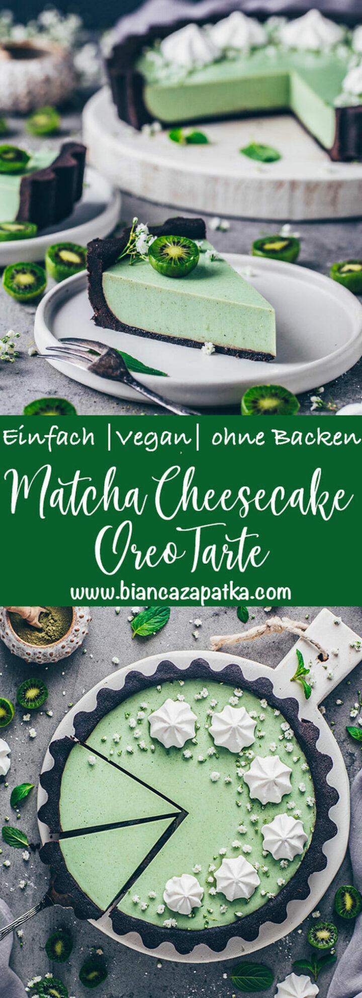 Matcha Cheesecake mit Oreo Schoko Kuchen Keksboden, Kiwis und Sahne Meringue