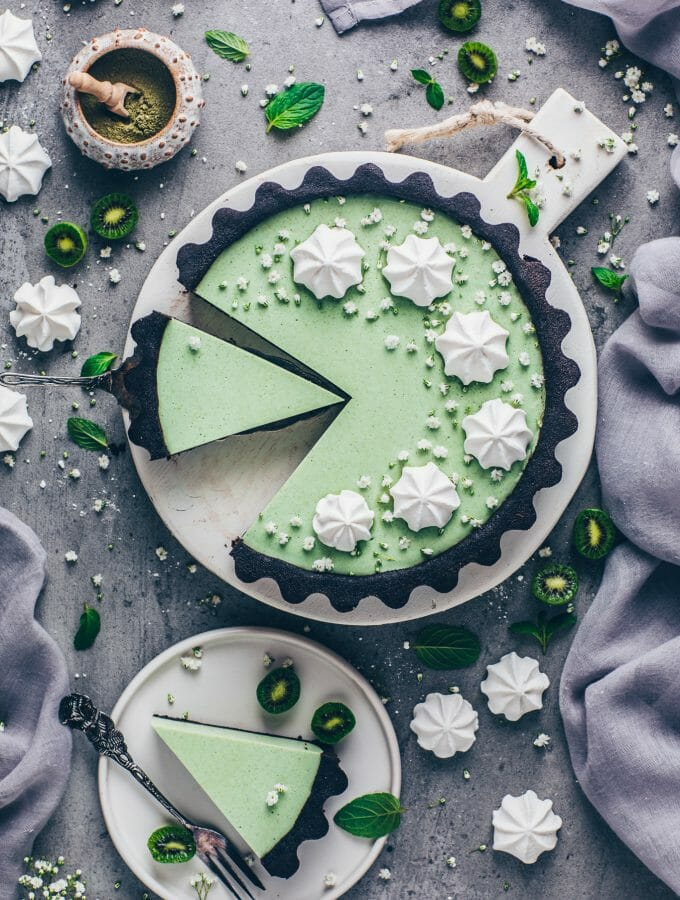 beautiful green matcha cheesecake tart pie with meringue (food photography and styling)