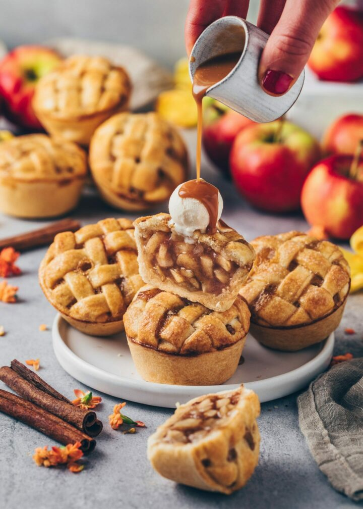 Mini Apple Pies with ice cream and caramel sauce