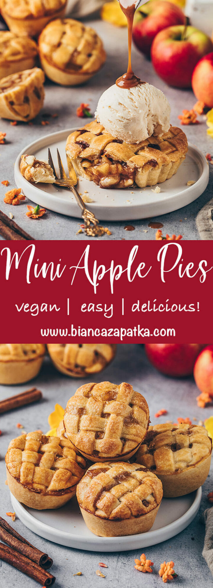 mini apple pies (apple cinnamon muffins tarts with caramel sauce)