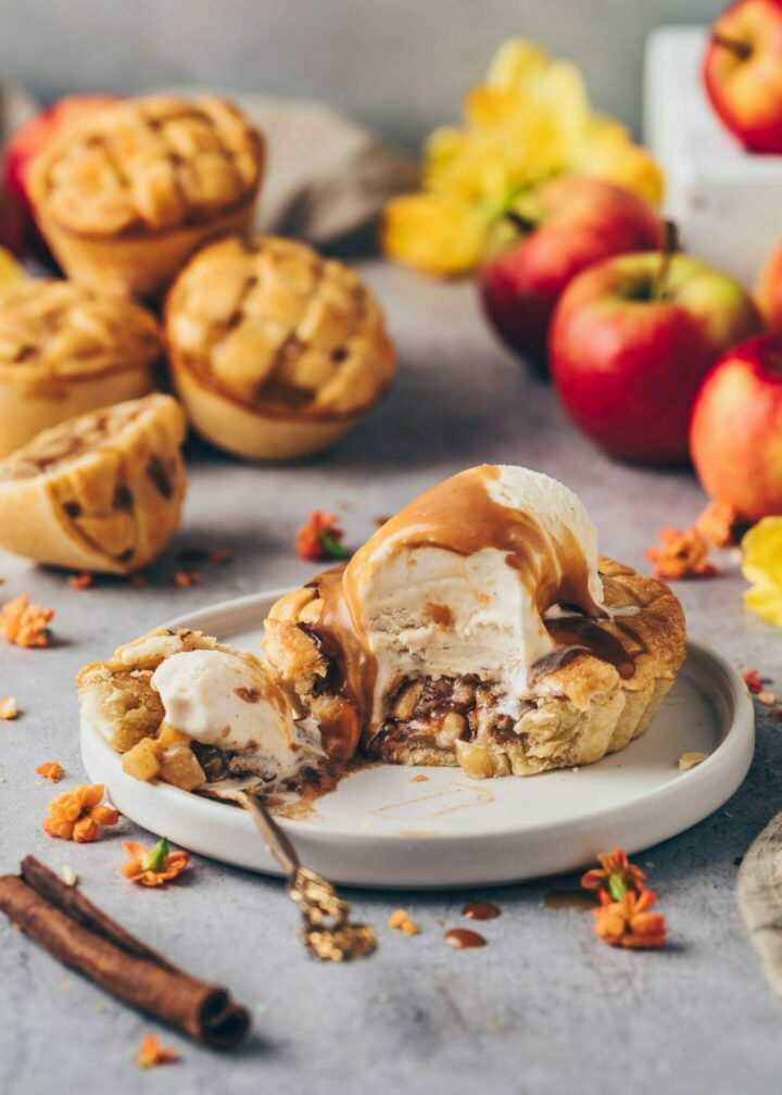 Apple Pie Tarts with ice cream, cinnamon, and caramel sauce