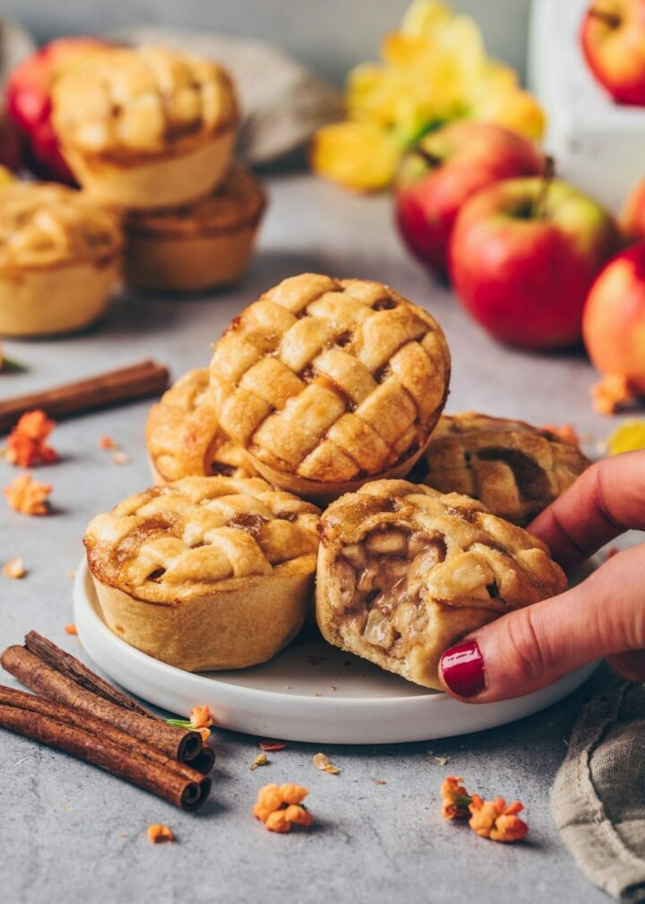 Mini Apple Pies with apple cinnamon filling and lattice pie crust