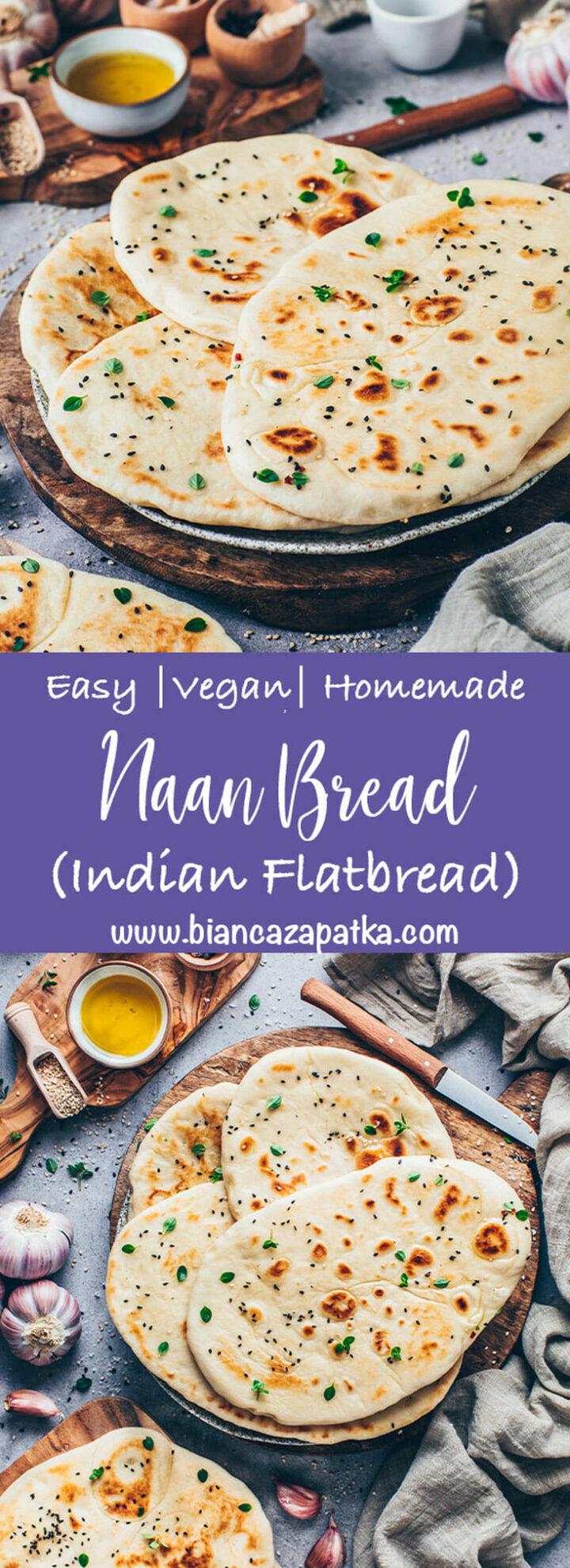 Naanbrood (zacht, pluizig, zelfgemaakt) Indiaas Flatbread met veganistische Knoflookboter (beste recept)