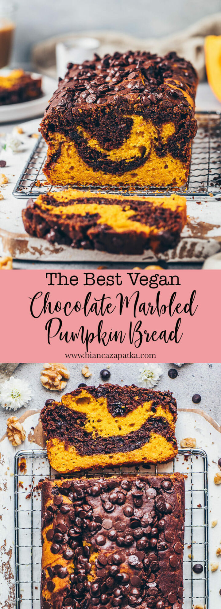 Marbled Pumpkin Chocolate Bread (Chocolate Chip Loaf Cake)