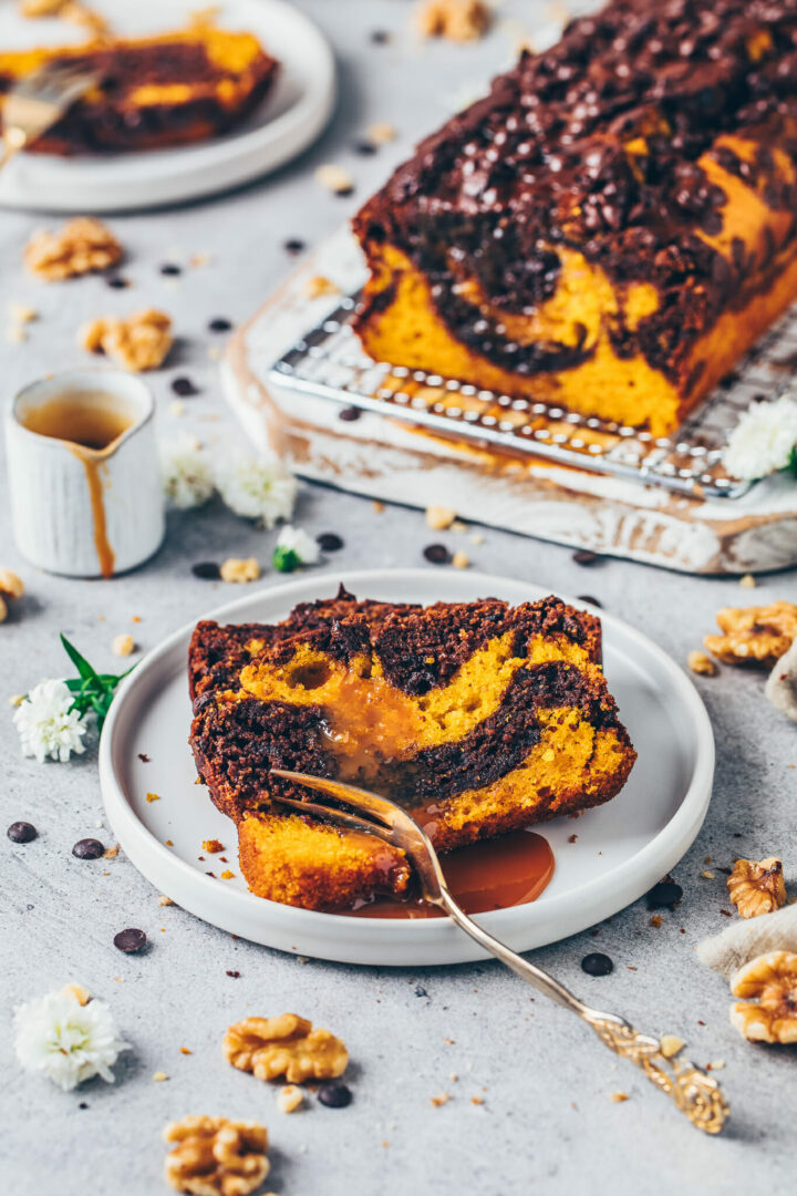 Chocolate Marble Pumpkin Cake Loaf