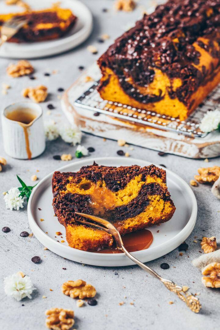Kürbis-Schoko-Kuchen Marmorkuchen mit Karamell