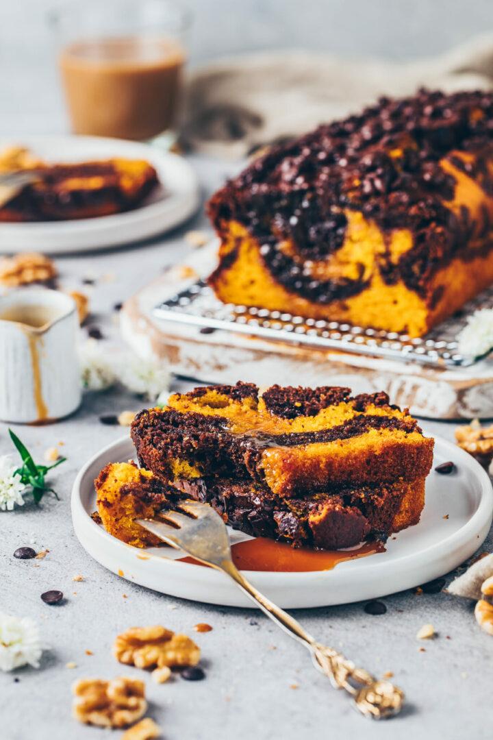 Kürbis Schoko Kuchen Marmorkuchen mit Schokoladen Drops