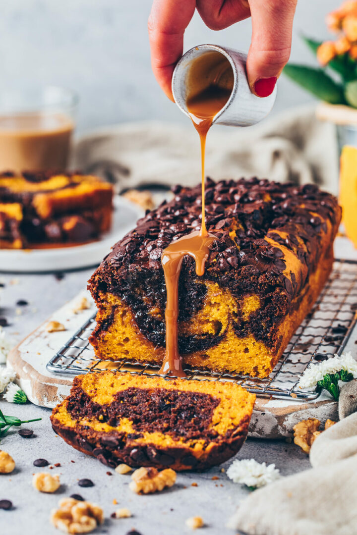 Pumpkin Bread with Chocolate Marble and Caramel Sauce