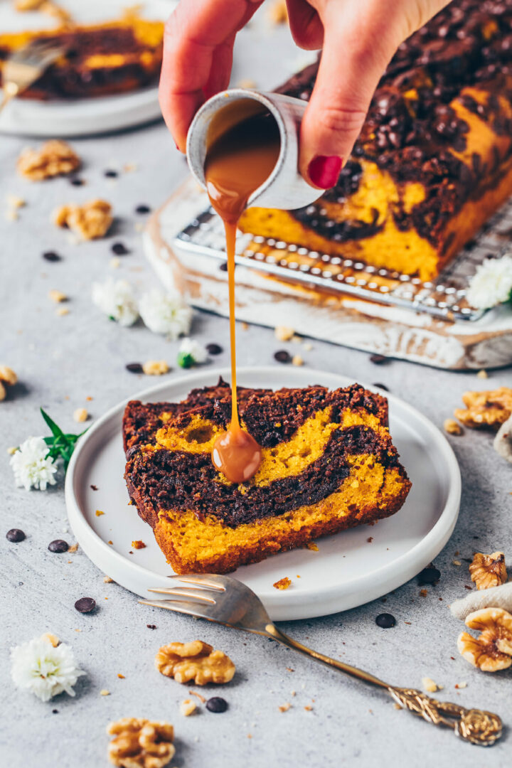 Chocolate Marble Pumpkin Bread with Walnuts and Caramel Sauce