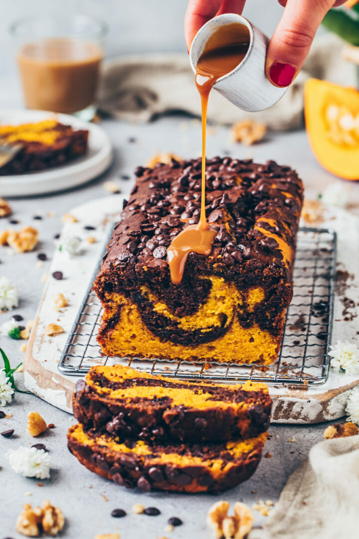 Chocolate Marble Pumpkin Bread with Caramel Sauce