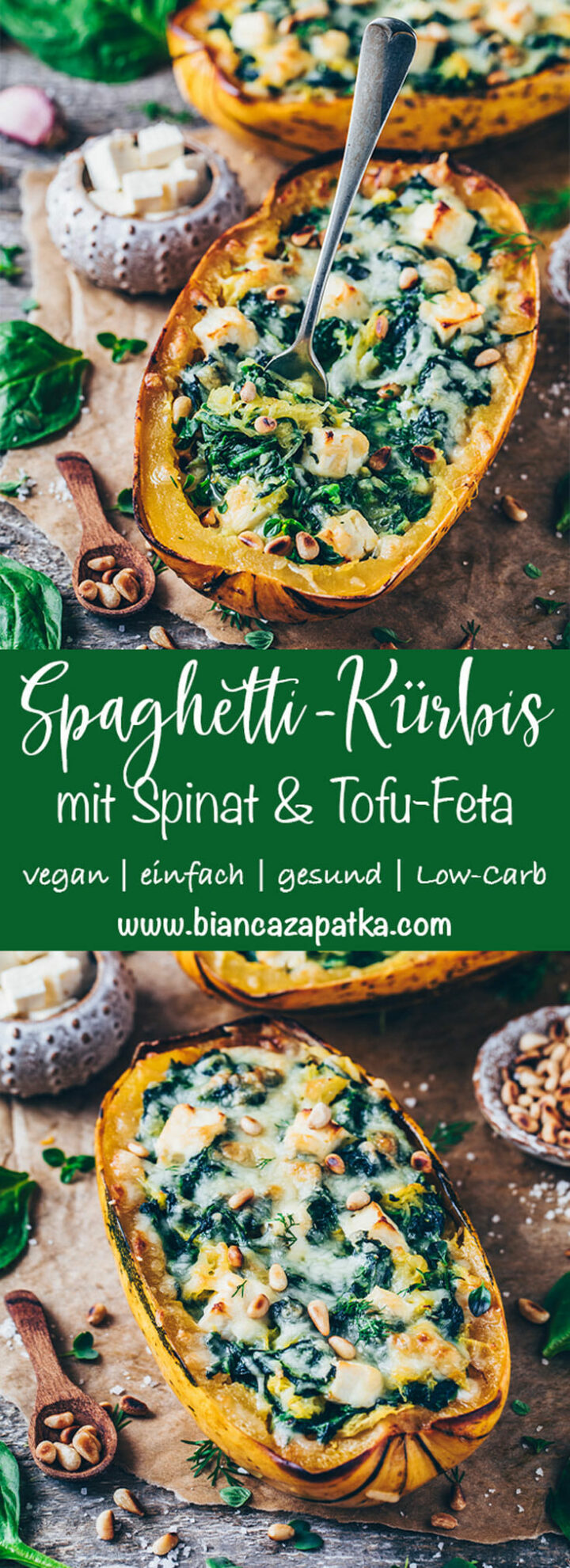 Spaghetti Kürbis mit Spinat und Feta Käse