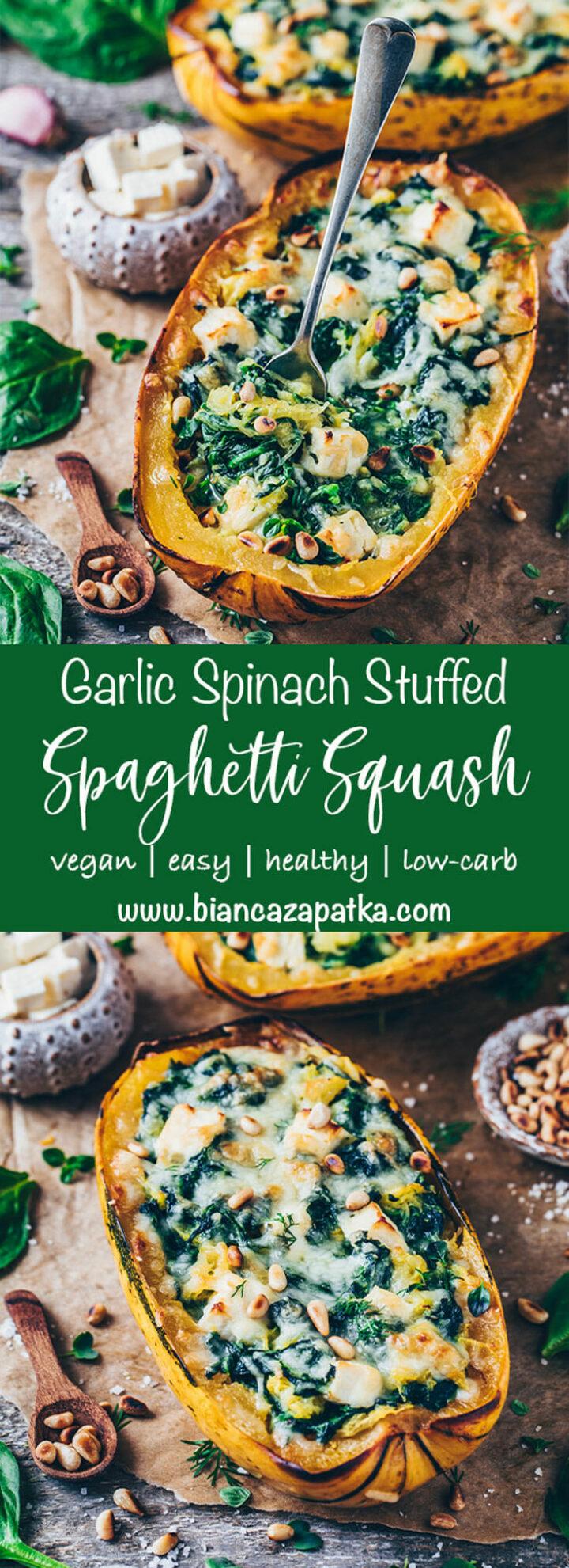 spaghetti squash boats stuffed with garlic spinach and feta cheese