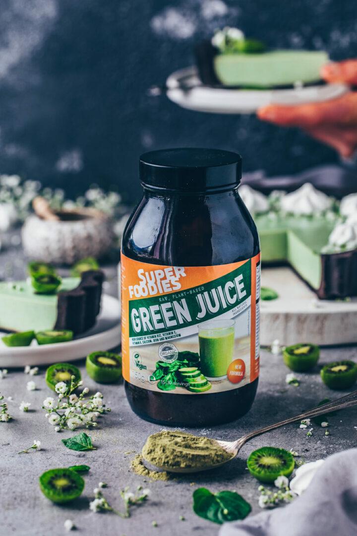 Green Juice, Grüner Tee Superfood Pulver für Tarte