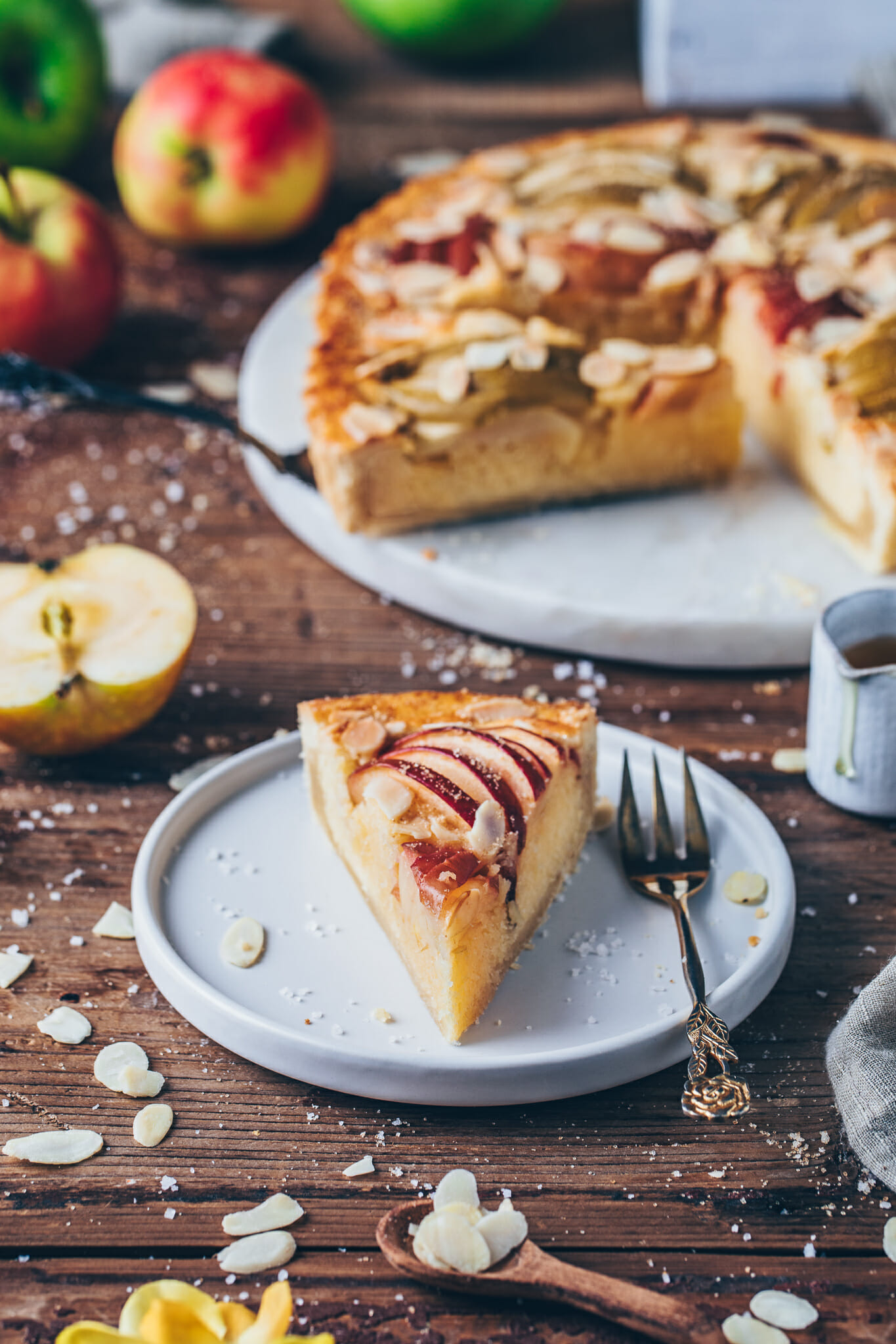 Vegan Apple Frangipane Tart with almonds