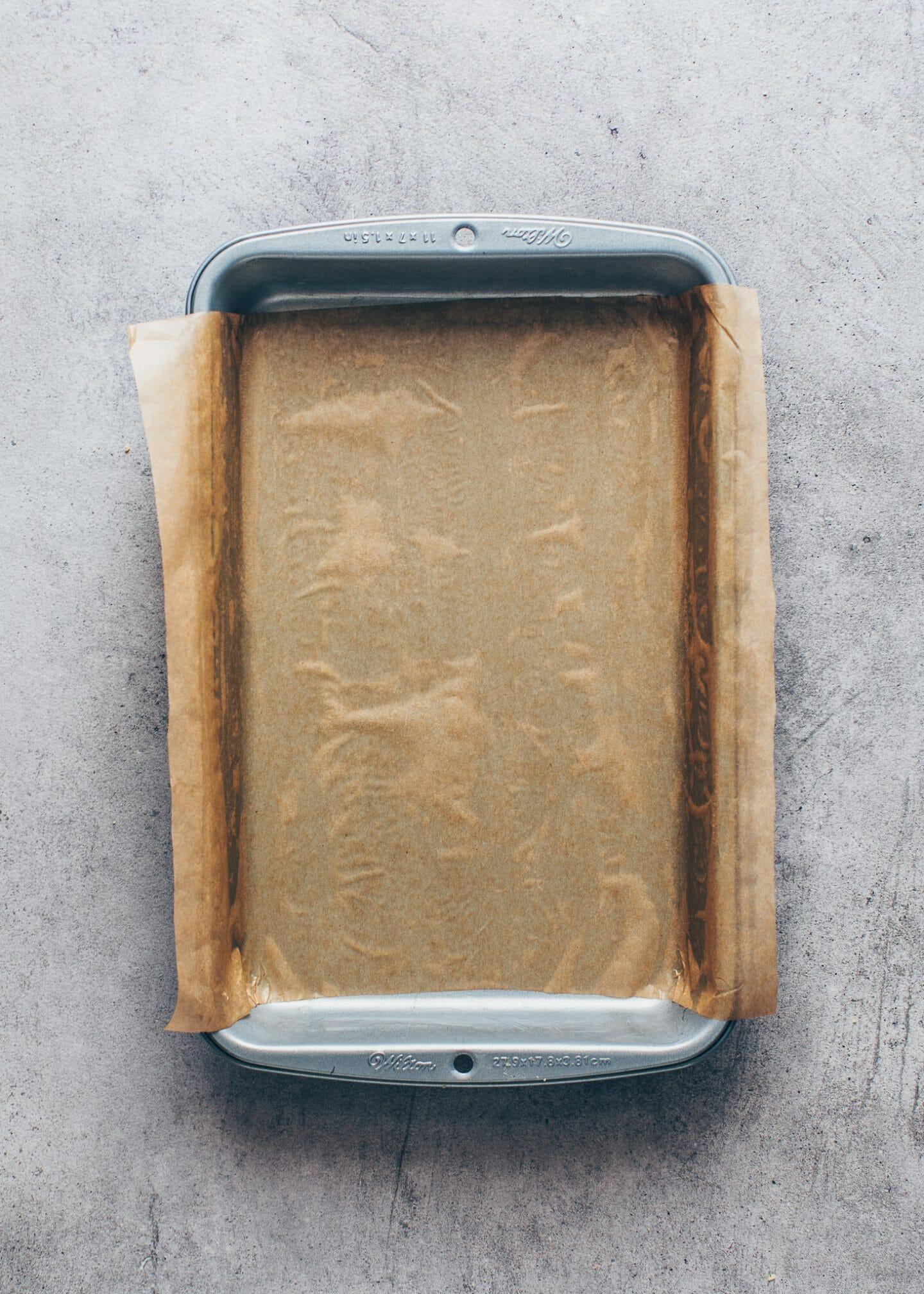 baking pan lined with parchment paper