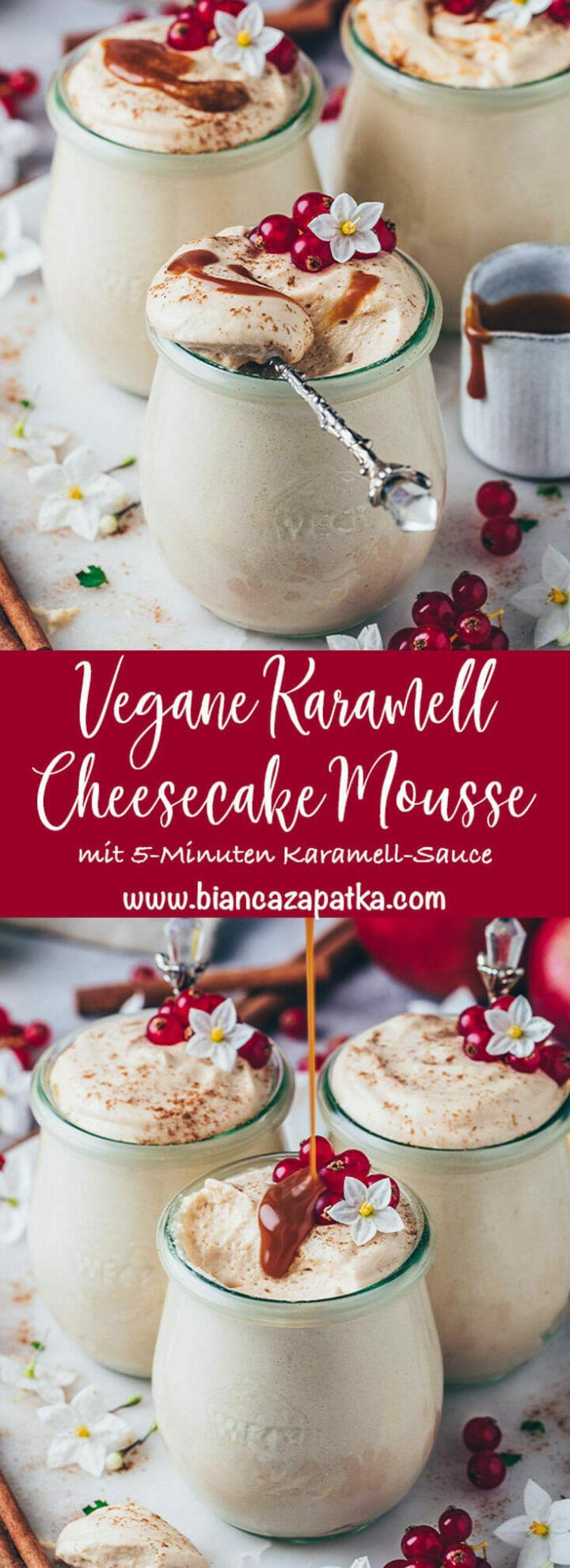 Karamell Mousse Dessert Rezept mit Karamellsauce, Zimt und Johannisbeeren (Cheesecake Käsekuchen im Glas)