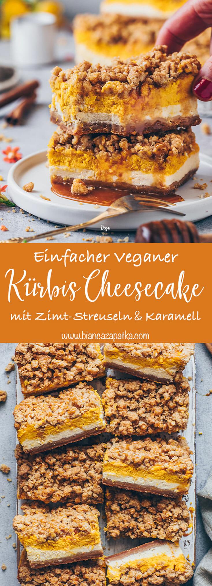 Kürbis Käsekuchen Cheesecake mit Zimt Streuseln und Karamellsauce