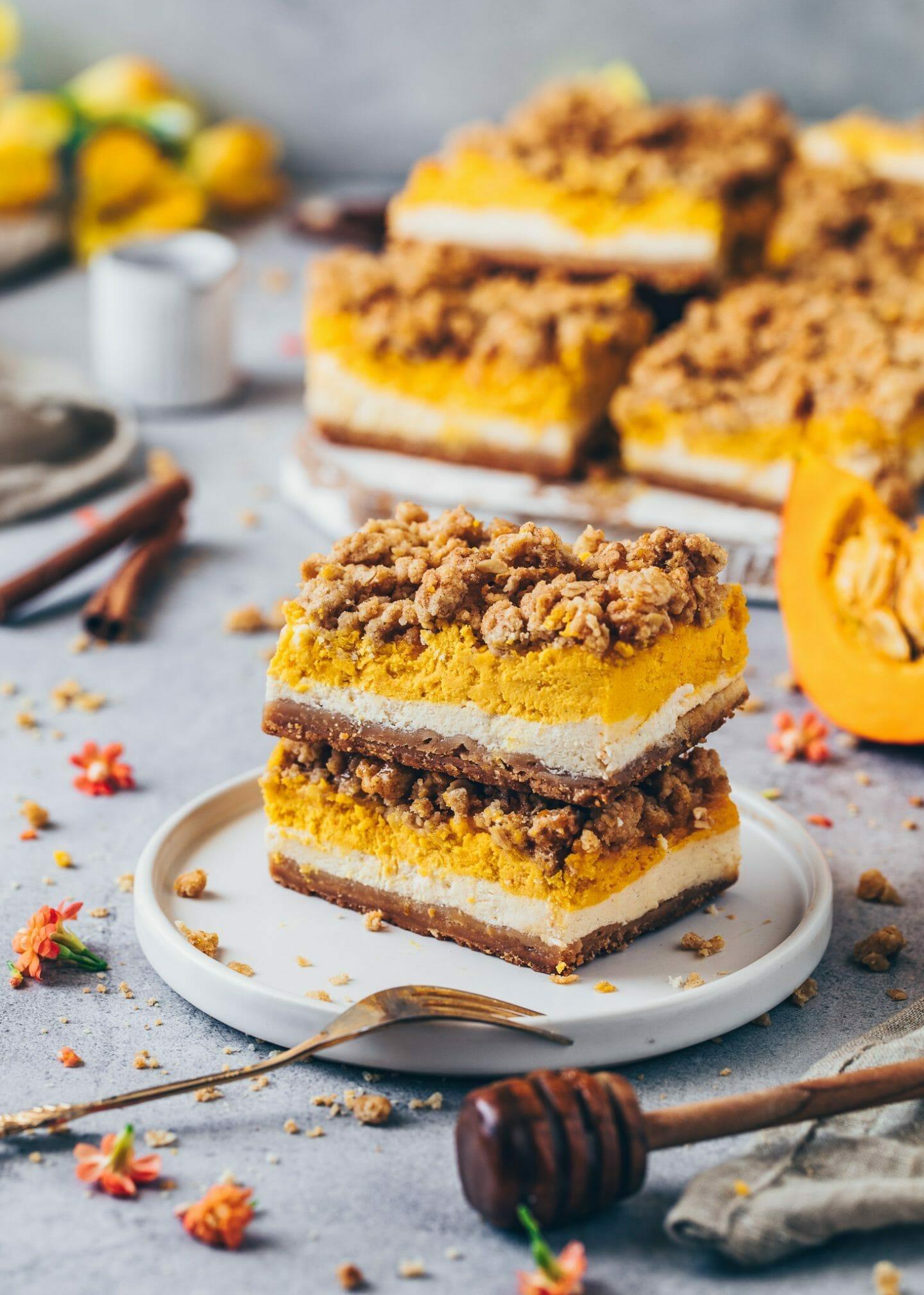 Kürbis Cheesecake mit Zimt-Streuseln