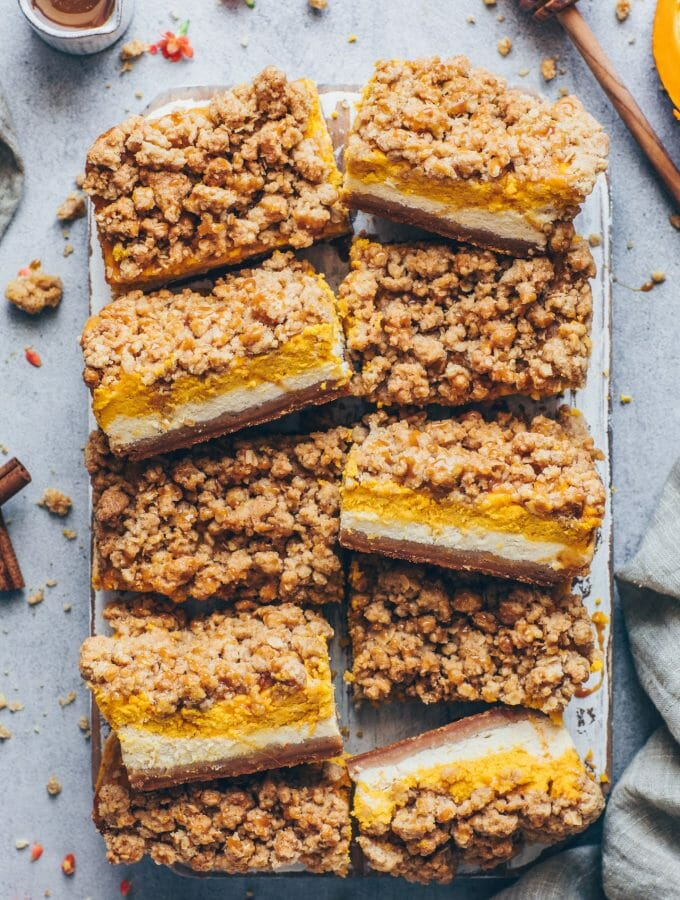 Pumpkin Cheesecake Bars with Cinnamon Streusel