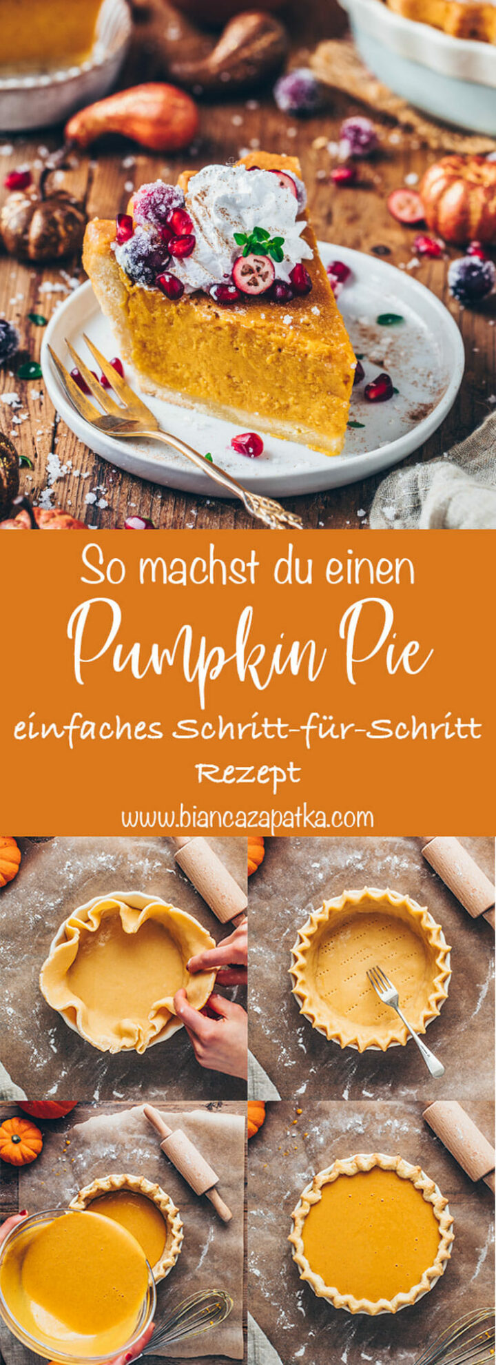 Kürbiskuchen Rezept - Pumpkin Pie mit Schritt-für-Schritt Anleitung und selbstgemachte Mürbeteig